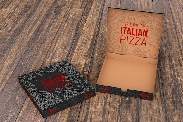 Open pizza box mockup