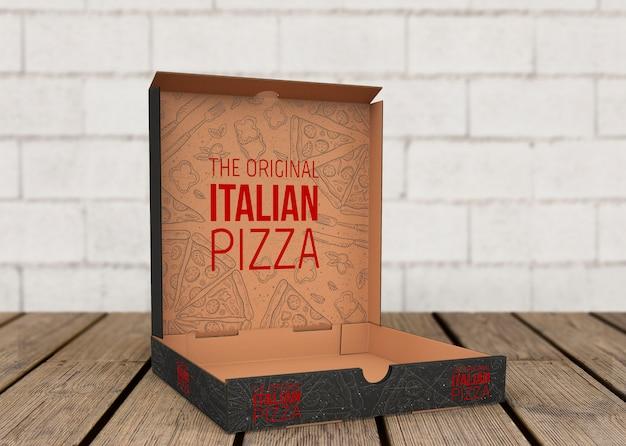 Open pizza box mockup