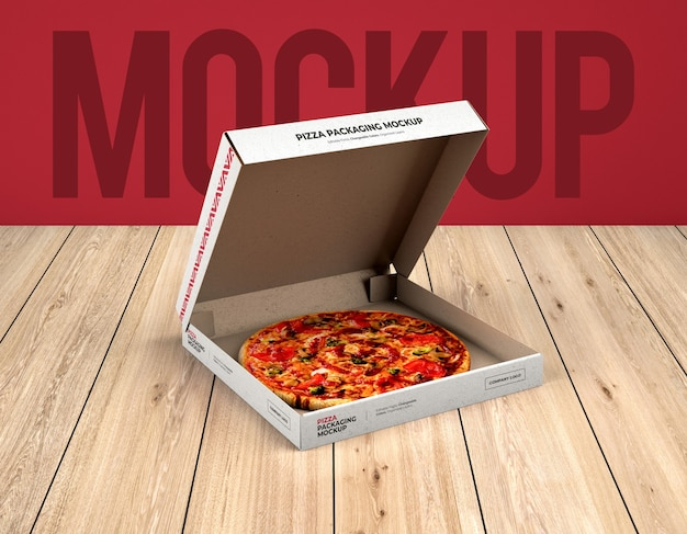 Open pizza box packaging mockup on wood texture