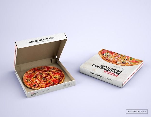 Open pizza box packaging mockup