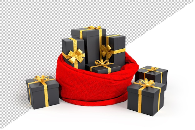 Open santa's bag with presents concept in 3d renderiong