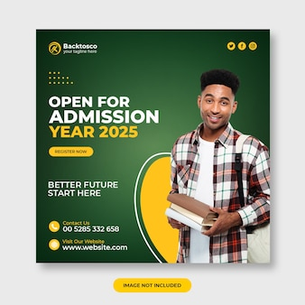 Open for school admission social media template premium psd
