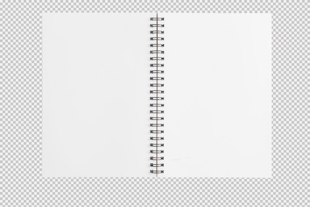 Open sketch notebook isolated on white background