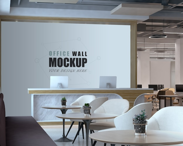 리셉션 및 직장 벽 모형이있는 열린 공간