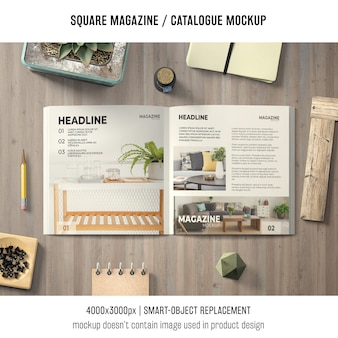Open square magazine or catalogue mockup