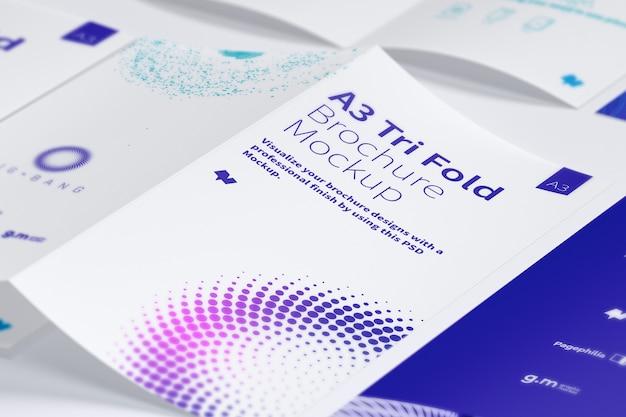 Open trifold brochure mockup