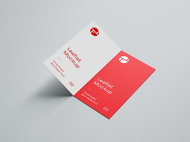 Open two fold brochure mockup