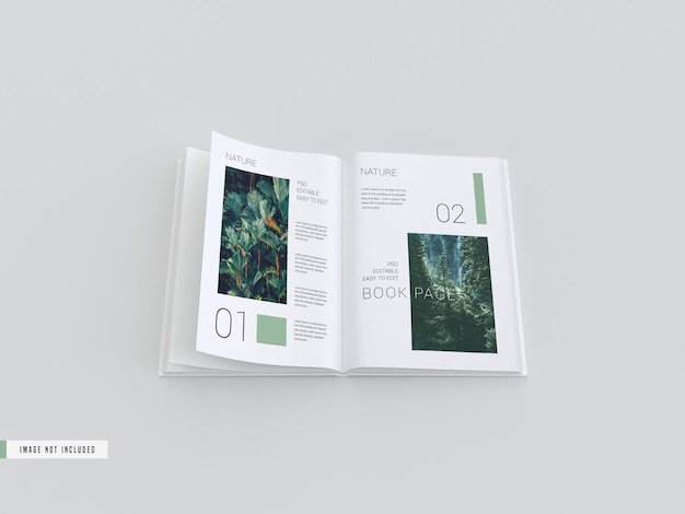 Open view book inside pages mockup