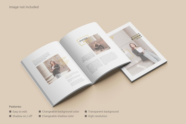 Open view and cover magazine mockup