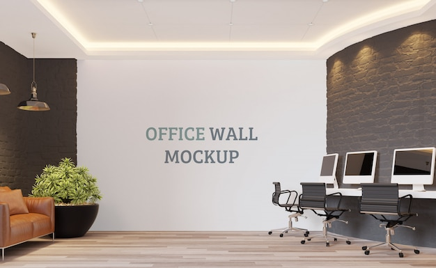 Open working space with wall mockup
