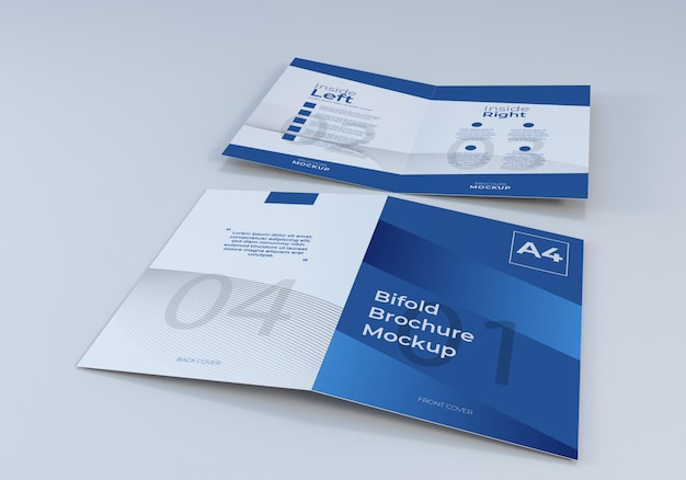 Opened a4 bifold brochure paper mockup