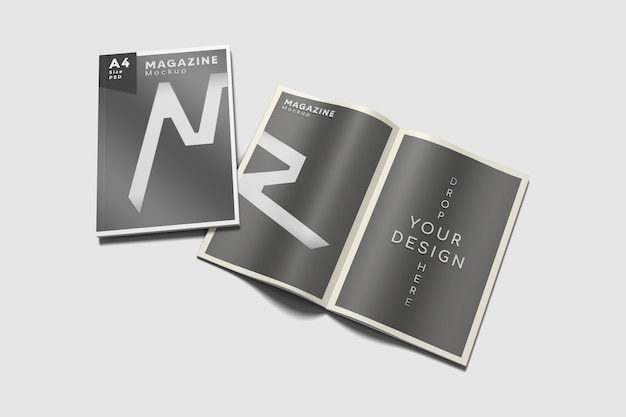 Opened and cover a4 magazine mockup on high angle view
