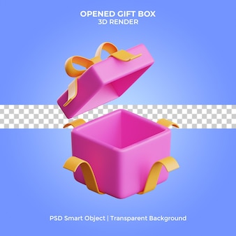 Opened gift box 3d render isolated premium psd
