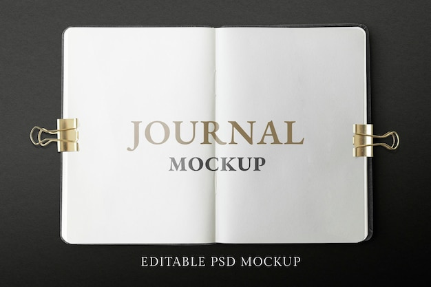 Opened journal pages mockup psd on black background