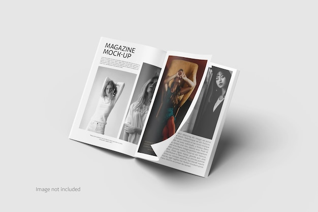Opened magazine mockup rendering isolated