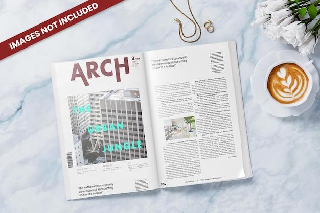 Мокап открытого журнала, вид сверху
