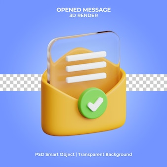 Opened message 3d render glass style isolated premium psd