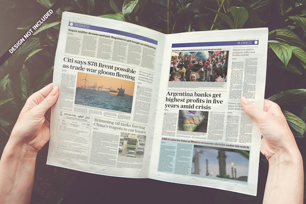 Opened newspaper mockup
