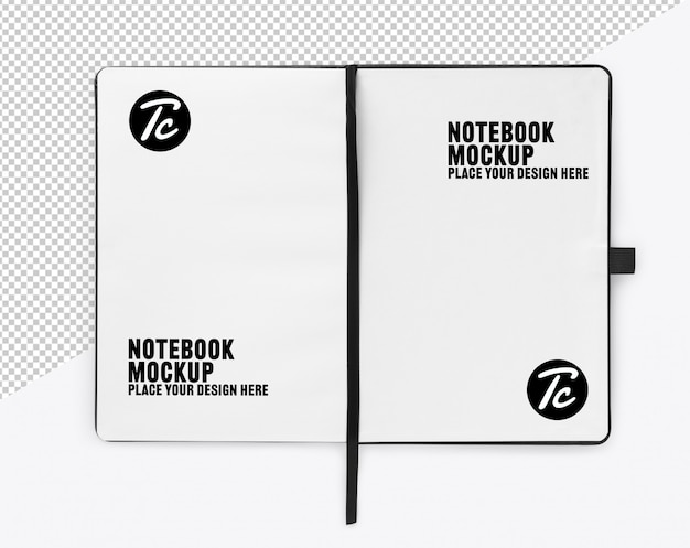 Opened notebook with blank page mockup template for your design
