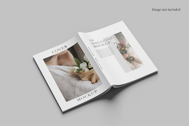 Opened perspective view magazine mockup design isolated