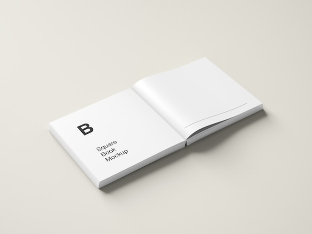 Opened square book or magazine mockup high angle view