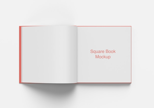 Opened square book or magazine mockup top angle view