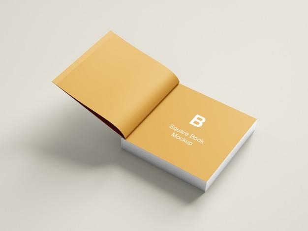 Opened square book or magazine mockup