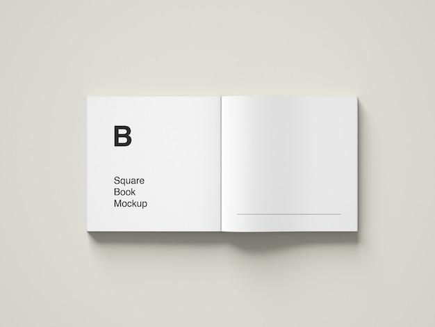 Opened square book mockup design