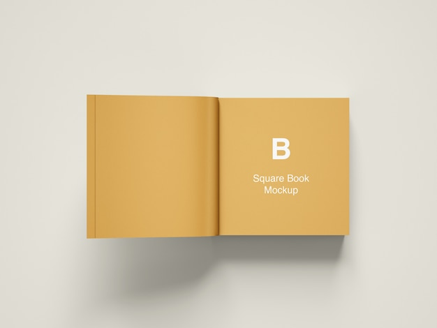 Открытая квадратная книга или журнал макет верхнего угла зрения