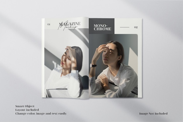 Opened top view brochure or magazine mockup with modern layout template
