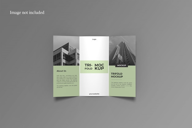 Opened trifold brochure mockup