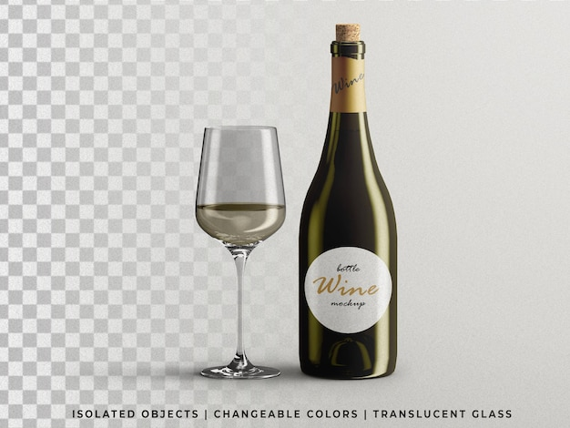 Opened wine bottle packaging mockup with glass front view isolated