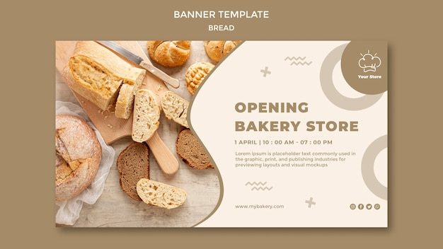 Opening bakery store horizontal banner template