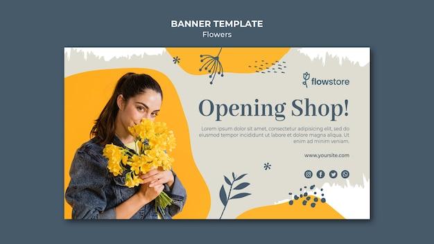 Modello dell'insegna di affari del negozio di fiore di apertura