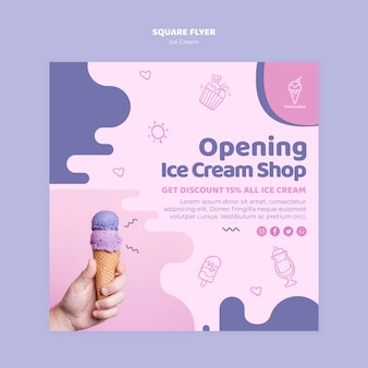Opening ice cream shop square flyer