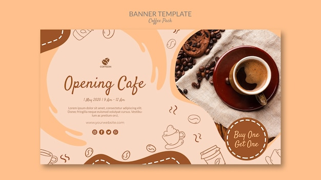 Opening shop coffee banner template
