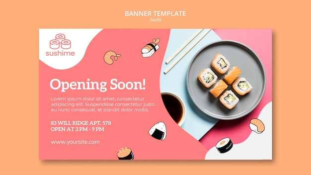 Opening soon sushi banner template