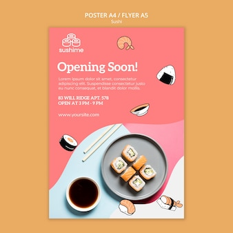 Opening soon sushi flyer template