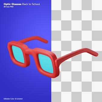 광학 안경 안경 3d 그림 렌더링 아이콘 편집 가능한 절연