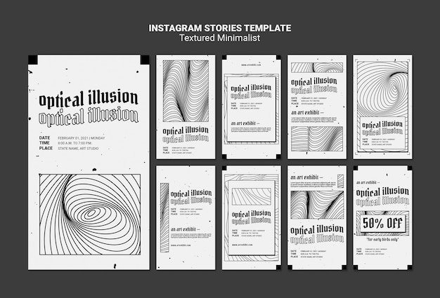 Optical illusion art exhibit instagram stories template