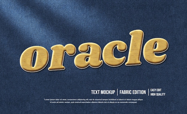 Oracle 3d text effect mockup template