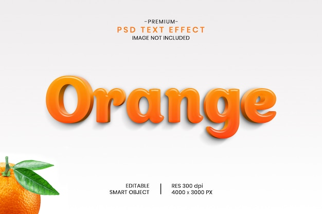 Orange 3d editable psd text effect style