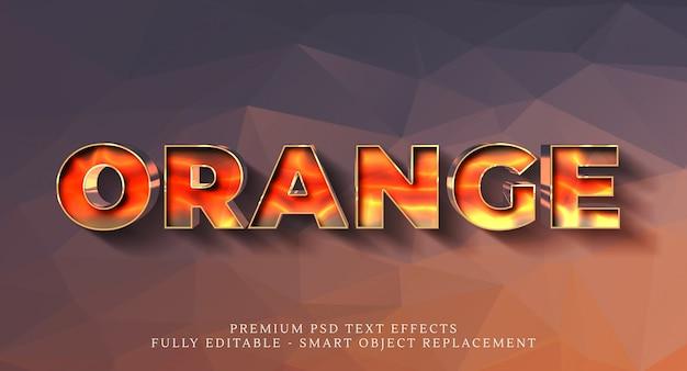 Оранжевый эффект стиля текста 3d