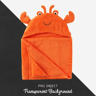 Orange baby or children's towel, bathrobe on transparent background