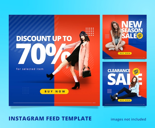 Orange blue instagram feed post template 3d look