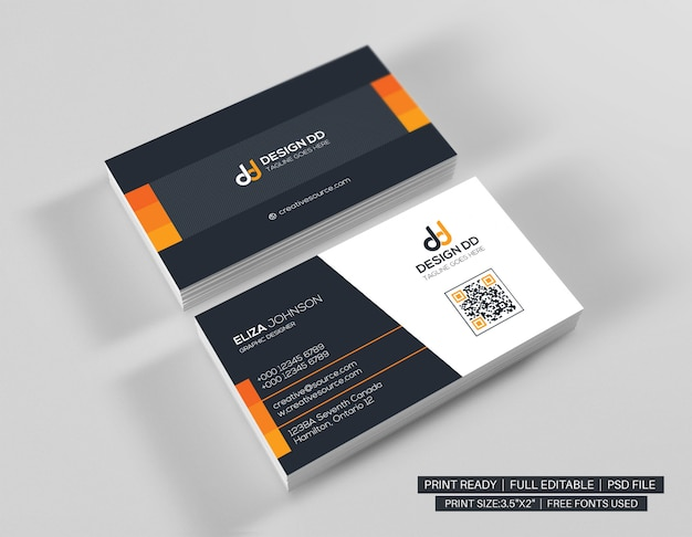 Orange clean business card