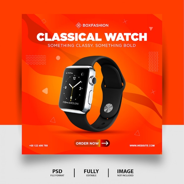 Orange color classical watch brand product social media post banner