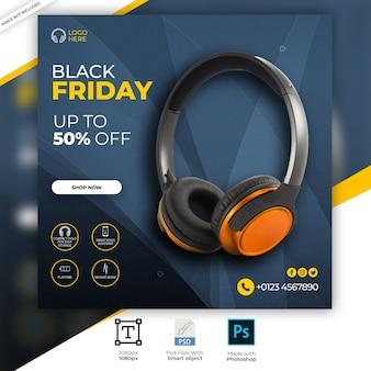Orange color headphone brand product social media instagram banner Premium Psd