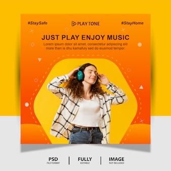 Оранжевый цвет просто наслаждайся музыкой социальные медиа post banner