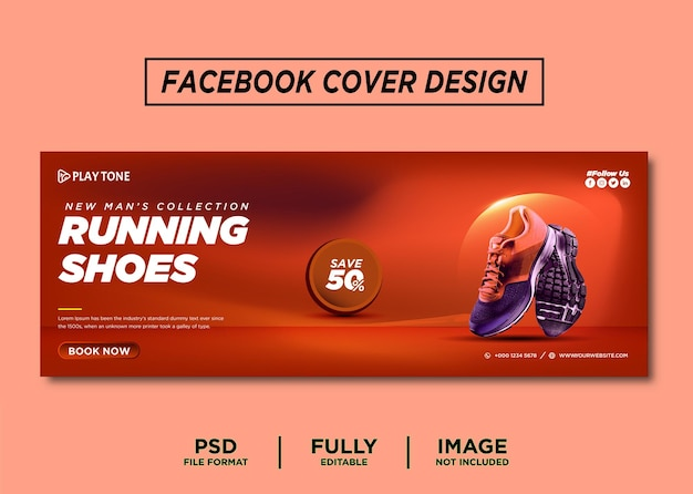 Orange color running shoes brand facebook cover template